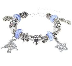 Blue White Murano Glass Beads Charm Bracelet Christmas Tree, Angel, Star, Stocking. Snowflake Dangles, 7.9 inches with 2 inches Extender LaFenne. $69.99. Beautiful sterling silver whole core handmade blue white swirls lampwork glass beads.. Compatible with all major brands, such as Pandora, Chamilia, Troll, Biagi..etc.. Gift box included, ready for gift giving.. Bracelet end (with extender) can be screwed off and remove the Christmas dangles.. Total 22 beads, ...