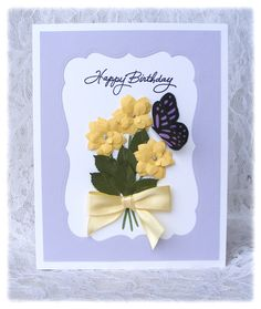 Handmade Birthday Card with 3D flowers and Butterfly. $4.00, via Etsy.
