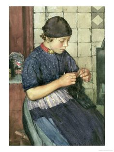 Girl Knitting, Walter Langley