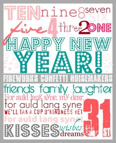 20 New Years Eve Party Printables and Recipe-Friday Freebies. 20 New Years Eve Party Printables and Recipe - I Love New Year, Happy New Year, New Year Printables, Party Printables, Diy New Years Party, New Years Eve Day, New Years Countdown, Auld Lang Syne, New Year's Crafts