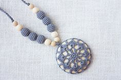 READ ON SHIP Boho Style Nursing necklace for breastfeeding Mom - Crochet pendant - Baby teether - gray color wood beads wood disk