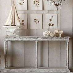 Eloquence Gustav Console in Oak Driftwood Finish