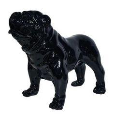 statue sculpture chien bouledogue anglais xl 90 cm laqué NOIR neuf - Achat / Vente statue - statuette - Cdiscount