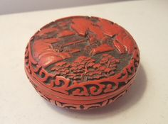 Red Cinnabar Lacquer Small Container Vintage Retro China Dish Lid Great Scene 3""