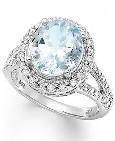 14k White Gold Ring, Aquamarine (3-1/4 ct. t.w.) and Diamond (1/2 ct. t.w.) Oval Ring - Gemstones - Jewelry & Watches - Macy's