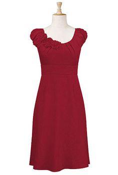 Cotton rosette trim dress