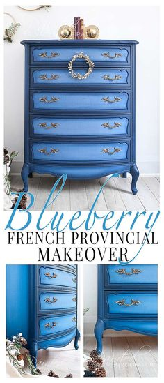 Blueberry Painted French Provincial Does color and color blending scare you? It can be intimidating, right? It doesn't even matter how gorgeous the color is. If it makes a strong statement and has a personality of its. Painting Wooden Furniture, Painted Bedroom Furniture, Shabby Chic Furniture, Rustic Furniture, Vintage Furniture, Furniture Decor, Cheap Furniture, Urban Furniture, Outdoor Furniture