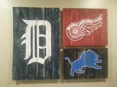 Detroit Sports Love -- Fun Pallet Art for our basement