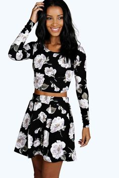 Rose Floral Top And Skater Co-Ord Set at boohoo.com