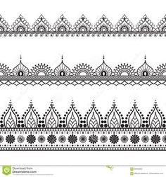 Linha De Beira Elementos Do Mehndi Do Laço No Estilo Indiano Para O Cartão E Tatuagem No Fundo Branco Ilustração do Vetor - Imagem: 69420262