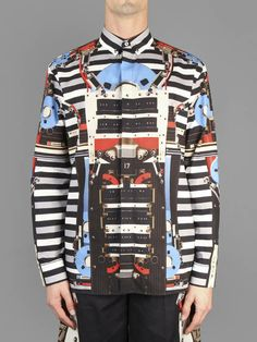 SS14 w/ Givenchy button down collared shirt with over all robot plus blue disc print