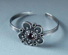Sterling Silver Flower cuff, Red Garnet Bracelet, Filigree Bracelet, Oxidized Jewelry, Handmade Jewelry, Shillyshallyjewelry, One of a kind by ShillyShallyjewelry on Etsy