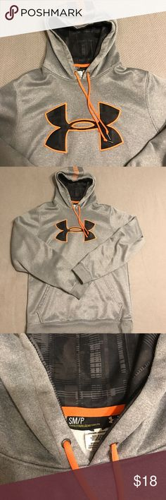 Under Armour Hooded Sweatshirt Men's gray hooded sweatshirt from Under Armour. Fluorescent orange and black detail. Black plaid design inside the hood and on the front logo. Great condition and perfect for the changing weather. Under Armour Shirts Sweatshirts & Hoodies
