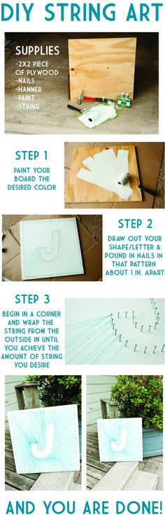 J letter String Art, step by step (tutorial) - String Art DIY Crafts For Teens, Fun Crafts, Diy And Crafts, Arts And Crafts, String Art Tutorials, String Art Patterns, Nail String Art, String Crafts, Resin Crafts