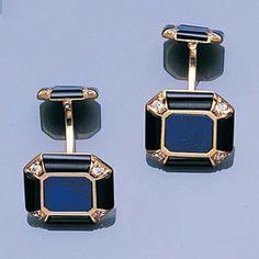 A pair of lapis lazuli, onyx and diamond cufflinks, Cartier