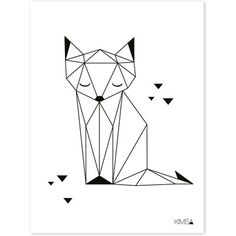Drawing Portraits - Affiche enfant renard noir et blanc: Discover The Secrets Of Drawing Realistic Pencil Portraits.Let Me Show You How You Too Can Draw Realistic Pencil Portraits With My Truly Step-by-Step Guide. Fuchs Silhouette, Silhouette Portrait, Geometric Fox, Geometric Drawing, Geometric Origami, Origami Design, Geometric Cat Tattoo, Pencil Portrait, String Art