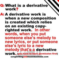 What is a derivative work? #copyright #songwriting #musicbusiness http://www.songwritingandmusicbusiness.com