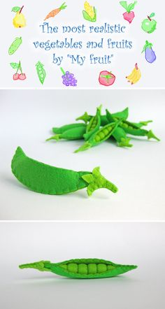 Felt Food Peas 1 pc eco friendly children's felt play by MyFruit