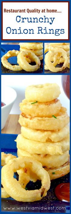 Better than at a restaurant, these Crunchy Fried Onion rings are light, airy and hold their crunchy without being greasy at all! Simple to make at home for an easy appetizer or as a side to go with a burger!