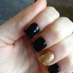 Opi gel manicure in black onyx and 24k!!!!