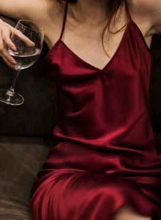 A simply perfect stretch silk slip dress in burgundy color will help you to look and feel amazing. This luxurious silk dress was made to look elegant on you and to feel wonderful against your Mode Outfits, Dress Outfits, Fashion Outfits, Fashion Goth, Fashion 2020, Maroon Aesthetic, Valentines Day Dresses, Silk Slip, Mode Style