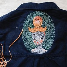 My new red hair lady  / back of denim shirt #embroidery #modernembroidery #paint #handmade #craft #modern #portrait #illustration #contemporaryart #art #illustration by kseniyasegina pinned by KIRSE