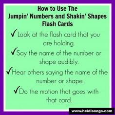 How to Use The Jumpin' Numbers and Shakin' Shapes Flash Cards. Heidisongs.com
