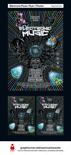 Electronic Music Flyer and Poster Template — Photoshop PSD #carlosache #stars • Available here → https://graphicriver.net/item/electronic-music-flyer-and-poster-template/14899578?ref=pxcr