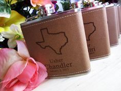 Leather Flask with Your State Engraved on it by weddingpartygifts
