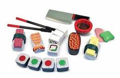 Add wasabi, if you like! This elegant 24-piece wooden sushi play-food set is packed in a beautiful storage box and includes sliceable sushi rolls, shrimp, tuna, easy-use chopsticks, a cleaver and more. Sushi rolls make realistic chopping sounds when sliced!