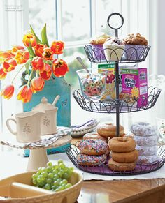 French Wire Tiered Stand does it all!  Create a Breakfast bar! #41374  See my French Wire Tiered Stand Pin Board for more ideas!  To order; Http://Lindaburt.Willowhouse.com
