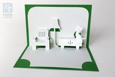 """PaperCut Vorlage Pop-up-Karte """"Sofa und Kätzchen"""", sofortiger Download, SVG, PDF, DIY, Schneiden & kleben eigenen 3d Pop-up-Karte 90 deg"""