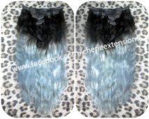 Balayage Dip Dye 8A Remy Ombre Balayage Grey Human Clip In Hair Extensions     Colour 2 Dark Brown  Sky Blue Grey Silver Dip Dye