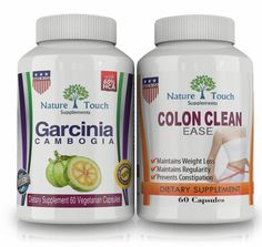 Nature Touch Colon Clean Ease Body Detox Plus Pure Garcinia Cambogia Cleanse Appetite Suppressant and Weight Loss Supplements.Pack of 2.Combo Pack.1600 Mg, 60 Count >>> Unbelievable  item right here! : Appetite Control Suppressants
