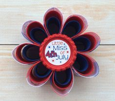 4th of July Flower Hair Bow  Flower Hair Bow Clip  by HaleysBows
