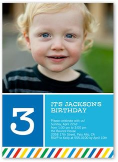 Birthday baby boy invitation 1 2 3 4 5 year old 1st birthday rainbow striped boy birthday invitation stopboris Images