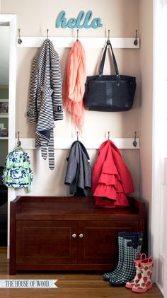 Don't have a mudroom or hall closet? No problem! Create an organized entryway and designate a drop zone to calm the clutter. Tutorial by The House of Wood.