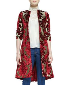 Red Multicolor Duchess Velvet Embroidered Jacquard Mid-Length Coat by Alice + Olivia at Neiman Marcus $1000