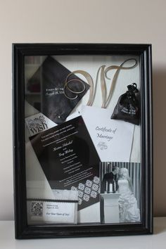 Here's what to do with the items you want to save from your wedding...Wedding Shadow Box! Much better than keeping them put away in the back of the closet!! ♡