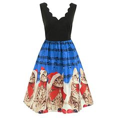 2127f609c33e HHei_K Womens Christmas Vintage Lace Patchwork Christmas Cats Musical Notes Print  V-Neck Evening Party Swing Dress