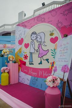Impressive Outfits & Upbeat Decor: This Cheerful Wedding will Win your Heart Floral Backdrop, Backdrop Ideas, Plan Your Wedding, Wedding List, Wedding Ideas, Indian Wedding Planner, Mehndi Decor, Home Wedding Decorations, Wedding Planning Websites