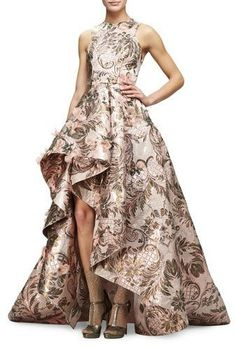 Monique Lhuillier Sleeveless Metallic-Tapestry High-Low Gown, Blush High Low Evening Dresses, Floral Evening Dresses, High Low Gown, Floral High Low Dress, Hi Low Dresses, Evening Gowns, Floral Dresses, Pretty Dresses, Monique Lhuillier