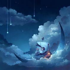 cast away on the moon by megatruh.deviantart.com on @DeviantArt