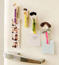 Stop texting and leave sweet notes and reminders on the fridge the old-fashioned way. Use clothespins, string, and ribbon to DIY these with your kids. Easy Crafts For Kids, Crafts To Make, Fun Crafts, Arts And Crafts, Creative Crafts, Book Projects, Projects For Kids, Wood Circles, Cute Family