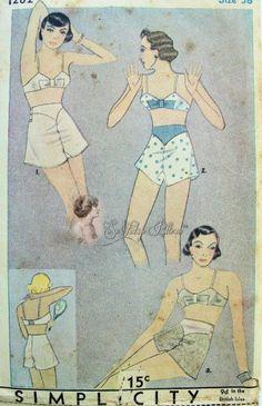 30s Lingerie Pattern Bias Cut Tap Panties Knickers Bow Trim Bandeau Bra Simplicity 1282 Vintage Sewing Pattern Bust 38