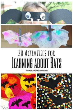 Looking for preschool bat activities? Here are 20 fun ideas that build a variety of skills. Free bat printable included! #bats #fall #art #printable #3yearolds #4yearolds #preschool #teaching2and3yearolds Halloween Activities For Kids, Preschool Learning Activities, Animal Activities, Autumn Activities, Preschool Crafts, Preschool Ideas, Preschool Prep, Science Crafts, Nature Activities