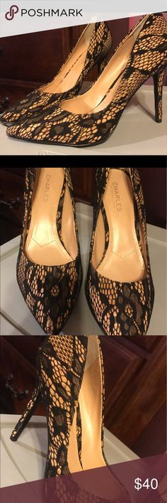 Brand New Charles by Charles David lace heels 10M Lace nude and black point toe heels Charles David Shoes Heels