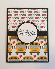 Handmade Teacher Thank You Card - I Love School by JuliesPaperCrafts on Etsy
