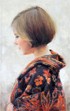 Gorgeous oil portrait of a girl in side profile by a Portraits, Inc. artist