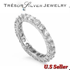 womens round cut cz sterling silver eternity wedding band ring size 5 6 7 8 9 10 #Unbranded